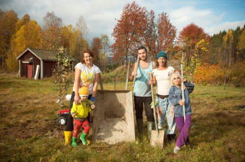 Plantera äppelträd med vänner